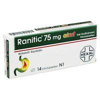 RANITIC 75 akut bei Sodbrennen Filmtabletten