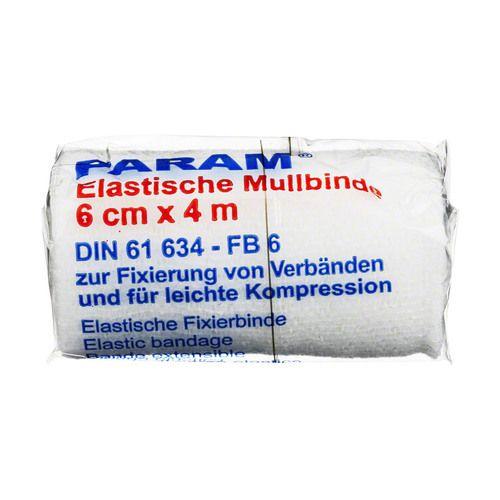 MULLBINDEN elast.6 cm m.Cellophan