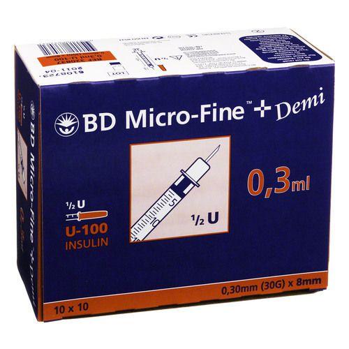 BD MICRO-FINE+ Insulinspr.0,3 ml U100 0,3x8 mm