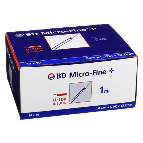 BD MICRO-FINE+ Insulinspr.1 ml U100 12,7 mm